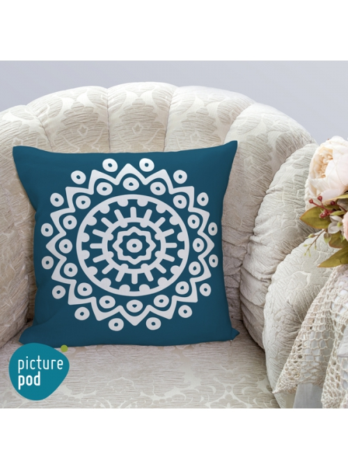 Turquoise Design Cushion - 35cm