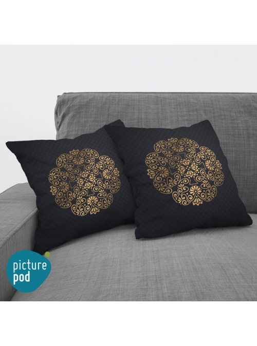 Gold Floral Cushion - 35cm