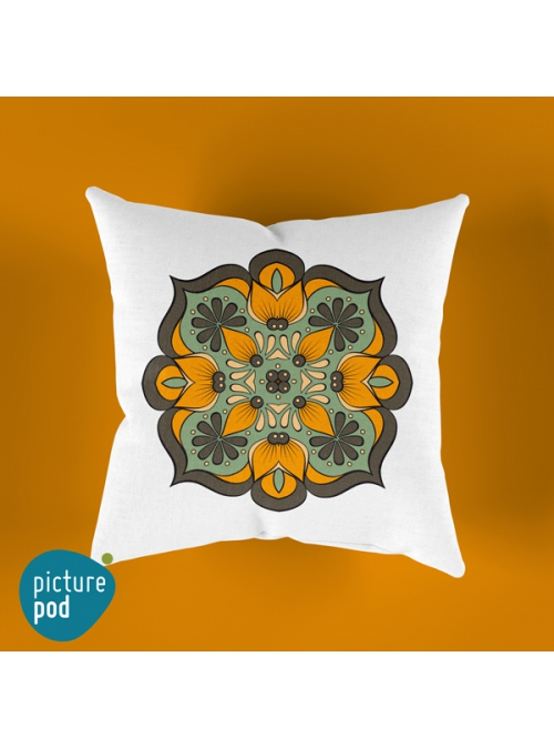 Boho Orange Flower Cushion - 35cm