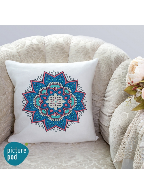Blue Ornament Cushion - 35cm