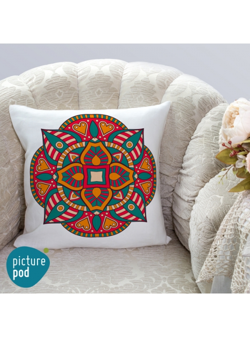 Ethnic Ornament Flower Cushion - 35cm