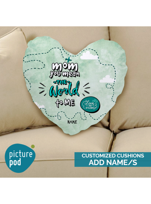 You're the World to me Customized Heart Shape Cushion