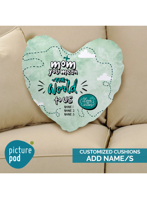 You're the World to us Customized Heart Shape Cushion
