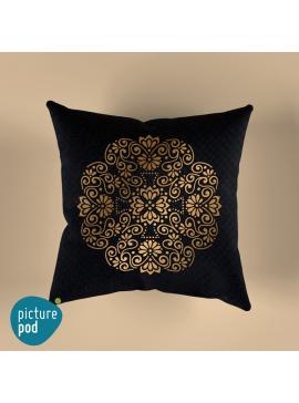 Gold Floral Cushion - 35cm