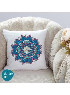 Blue Ornament Cushion - 35cm