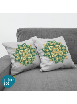Green Floral Cushion - 35cm