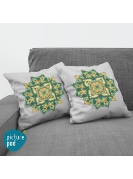 Green Floral Cushion - 35cm