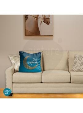 Eid Mubarak Blue Abstract Cushion