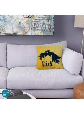 Eid Mubarak Yellow Silhouette Cushion