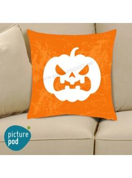 Halloween Pumpkin Grumpy Orange Cushion