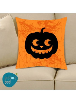 Halloween Pumpkin Wicked Smile Orange Cushion